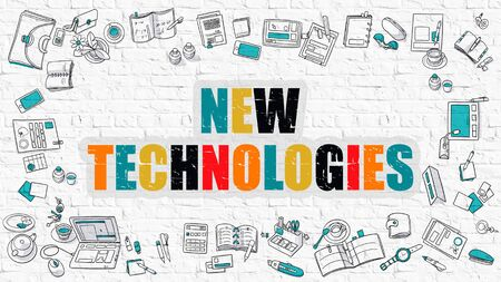 new technologies: New Technologies Concept. Multicolor New Technologies Drawn on White Brick Wall. Doodle Design Style.