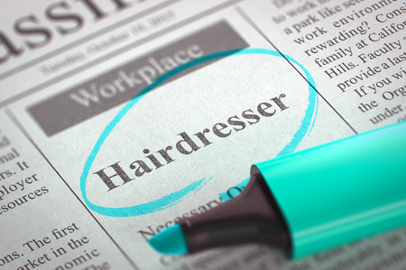 classifieds: Hairdresser - Advertisements and Classifieds Ads for Vacancy in Newspaper, Circled with a Azure Highlighter. Blurred Image. Selective focus. Concept of Recruitment. 3D Rendering.