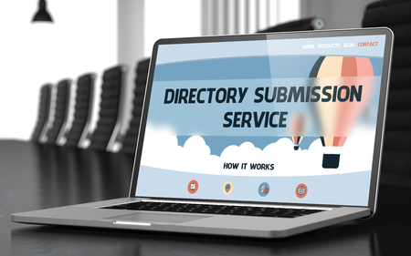 submission: Directory Submission Service Concept. Closeup of Landing Page on Mobile Computer Screen in Modern Meeting Hall. Toned Image with Selective Focus. 3D Rendering. Stock Photo