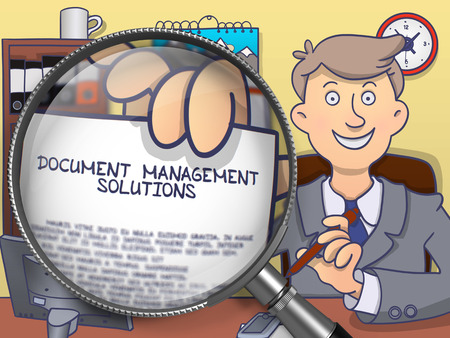 retrieval: Document Management Solutions. Concept on Paper in Mans Hand through Magnifier. Colored Doodle Illustration.