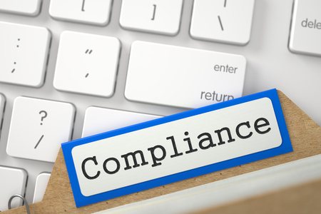 card file: Compliance written on Blue File Card Lays on White PC Keyboard. Closeup View. Blurred Image. 3D Rendering.