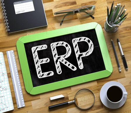 ERP. Business Concept Handwritten on Green Small Chalkboard. Top View Composition with Chalkboard and Office Supplies on Office Desk. ERP on Small Chalkboard. 3d Rendering. Stock Photo