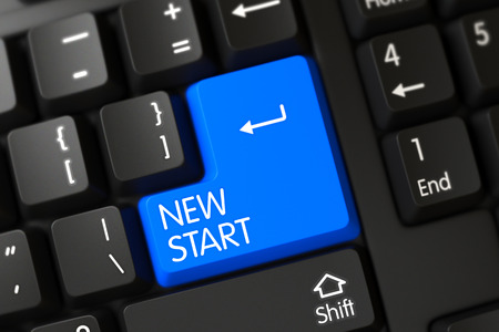 new start: New Start Concept: Computer Keyboard with Selected Focus on Blue Enter Button. 3D Illustration.