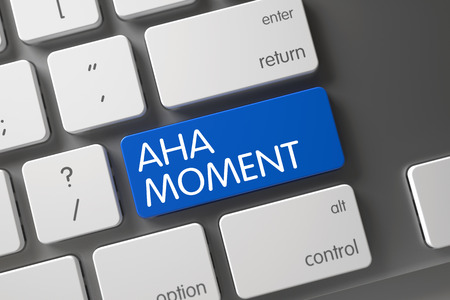 aha: Aha Moment Concept: Metallic Keyboard with Aha Moment, Selected Focus on Blue Enter Button. 3D Illustration. Stock Photo