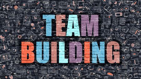 team building: Team Building Concept. Team Building Drawn on Dark Wall. Team Building in Multicolor. Team Building Concept. Modern Illustration in Doodle Design of Team Building. Stock Photo