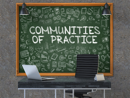 rationale: Communities of Practice - Handwritten Inscription by Chalk on Green Chalkboard with Doodle Icons Around. Business Concept in the Interior of a Modern Office on the Dark Old Concrete Wall Background. 3D. Stock Photo
