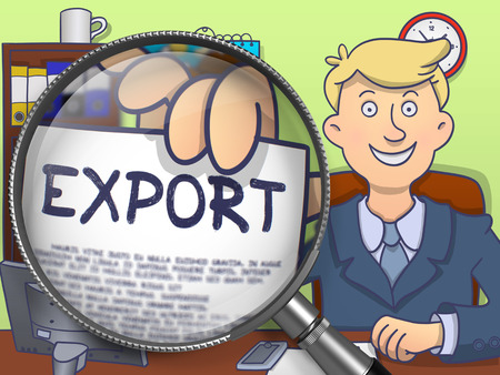 illustrate: Export on Paper in Officemans Hand through Lens to Illustrate a Business Concept. Colored Doodle Illustration. Stock Photo