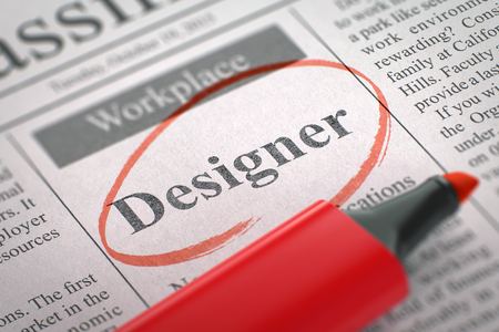 classifieds: A Newspaper Column in the Classifieds with the Jobs Section Vacancy of Designer, Circled with a Red Highlighter. Blurred Image with Selective focus. Job Seeking Concept. 3D Render.