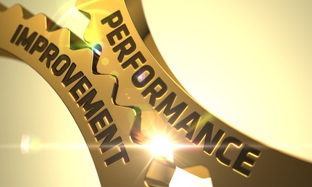 throughput: Performance Improvement on the Mechanism of Golden Gears. 3D Render. Stock Photo