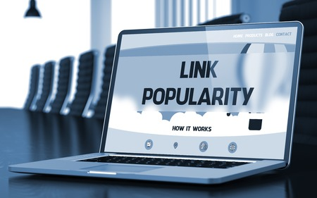 backlink: Link Popularity on Landing Page of Mobile Computer Screen in Modern Conference Room Closeup View. Blurred Image with Selective focus. 3D Rendering. Stock Photo