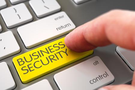stocktaking: Man Finger Pushing Business Security Yellow Keypad on Modern Laptop Keyboard. 3D Render.