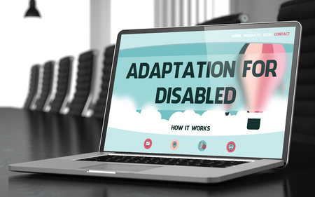 adaptation: Adaptation For Disabled Concept. Closeup Landing Page on Mobile Computer Screen on Background of Conference Hall in Modern Office. Blurred. Toned Image. 3D.