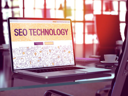 metasearch: SEO Technology Concept. Closeup Landing Page on Laptop Screen in Doodle Design Style. On Background of Comfortable Working Place in Modern Office. Blurred, Toned Image. 3D Render.