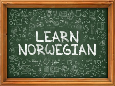polyglot: Hand Drawn Learn Norwegian on Green Chalkboard. Hand Drawn Doodle Icons Around Chalkboard. Modern Illustration with Line Style. Stock Photo