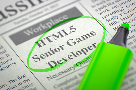 html5: HTML5 Senior Game Developer. Newspaper with the Jobs Section Vacancy, Circled with a Green Marker. Blurred Image. Selective focus. Hiring Concept. 3D Illustration. Stock Photo
