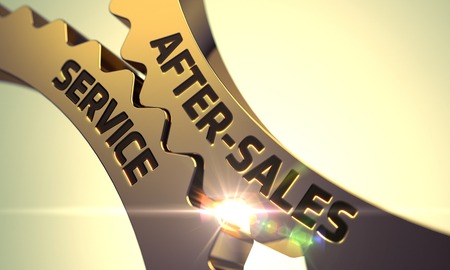 aftersales: After-Sales Service on the Mechanism of Golden Gears. 3D.