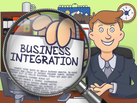 unification: Business Integration. Successful Man in Office Workplace Showing a Concept on Paper through Magnifying Glass. Multicolor Modern Line Illustration in Doodle Style.