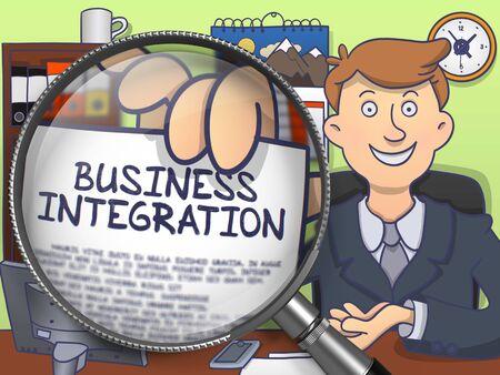 competitividad: Integraci�n de negocio. El hombre exitoso en el lugar de trabajo de oficina que muestra un concepto en el papel a trav�s de la lupa. Ilustraci�n multicolor l�nea de estilo moderno Doodle.