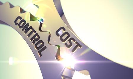 Golden Metallic Cogwheels with Cost Control Concept. 3D. Stock Photo