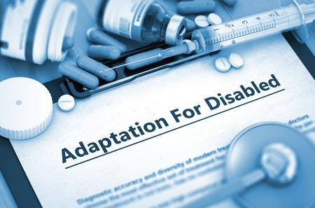 adaptation: Medical Concept- Adaptation For Disabled On Background of Medicaments Composition - Pills, Injections and Syringe. 3D.