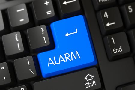 tumult: Alarm Close Up of Modern Laptop Keyboard on a Modern Laptop. 3D Illustration.