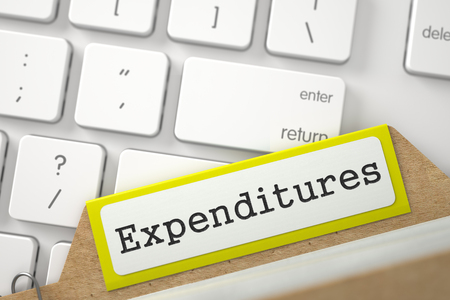 expenditures: Expenditures written on Yellow Archive Bookmarks of Card Index on Background of Modern Keyboard. Closeup View. Blurred Illustration. 3D Rendering.