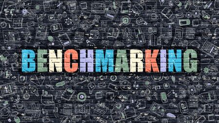 benchmark: Benchmarking - Multicolor Concept on Dark Brick Wall Background with Doodle Icons Around. Modern Illustration with Elements of Doodle Style. Benchmarking on Dark Wall.