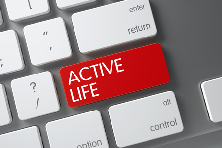 active life: Active Life Concept White Keyboard with Active Life on Red Enter Button Background, Selected Focus. 3D Render.