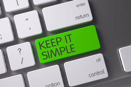 cogent: Keep IT Simple Concept Metallic Keyboard with Keep IT Simple on Green Enter Key Background, Selected Focus. 3D.