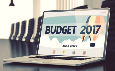 marginal returns: Budget 2017 on Landing Page of Laptop Screen in Modern Conference Room Closeup View. Toned Image. Selective Focus. 3D Rendering.