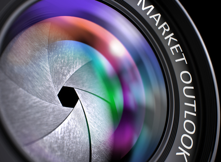 emerging markets: Lens of Digital Camera with Market Outlook Inscription. Colorful Lens Flares on Front Glass. Market Outlook on Photo Lens. Colorful Lens Flares. 3D Render.