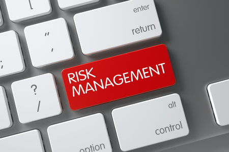 financial diversification: Concept of Risk Management, with Risk Management on Red Enter Button on Slim Aluminum Keyboard. 3D Illustration.