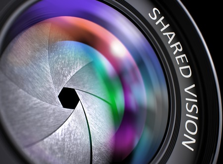 Shared Vision Concept. Closeup Professional Photo Lens with Pink and Orange Reflection. Black Background. Shared Vision Written on a Digital Camera Lens . 3D Render.