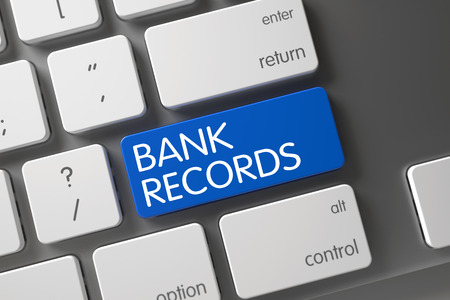 bank records: Concept of Bank Records, with Bank Records on Blue Enter Button on Modern Laptop Keyboard. 3D Render.