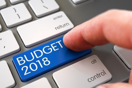 marginal returns: Business Concept - Male Finger Pointing Blue Budget 2018 Key on Slim Aluminum Keyboard. 3D. Stock Photo