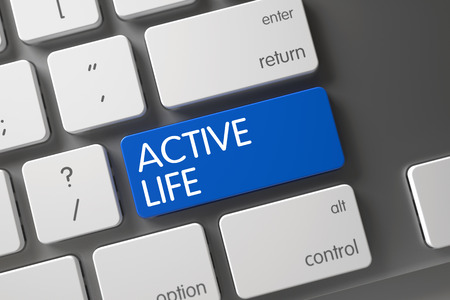 active life: Active Life Concept Modern Laptop Keyboard with Active Life on Blue Enter Keypad Background, Selected Focus. 3D Render.
