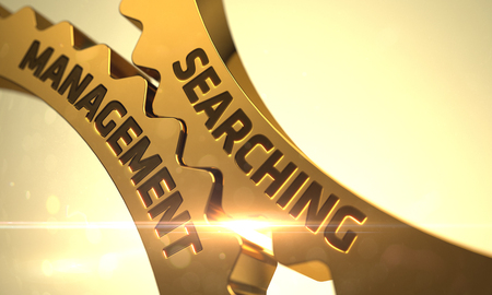 relevance: Searching Management on the Golden Metallic Gears. 3D. Stock Photo