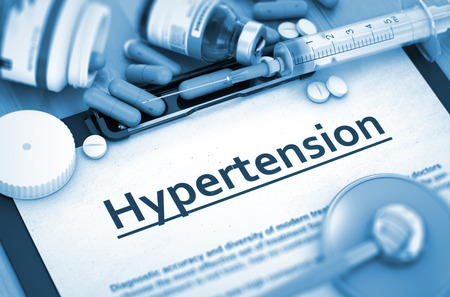 medicaments: Diagnosis - Hypertension On Background of Medicaments Composition - Pills, Injections and Syringe. 3D.