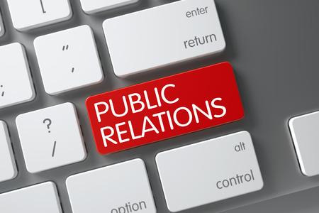 relaciones publicas: Concepto de relaciones públicas del teclado del ordenador portátil moderno con Relaciones Públicas en Red Introduzca fondo de botón, enfoque seleccionado. Render 3D.