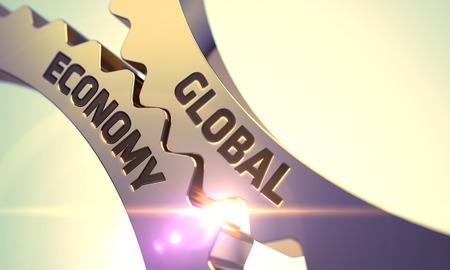 relaciones laborales: Economía Global sobre el Mecanismo de engranajes metálicos de oro del diente con destello de lente. Render 3D.