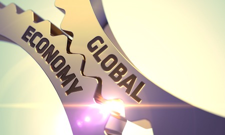 alliances: Global Economy on the Mechanism of Golden Metallic Cog Gears with Lens Flare. 3D Render. Stock Photo