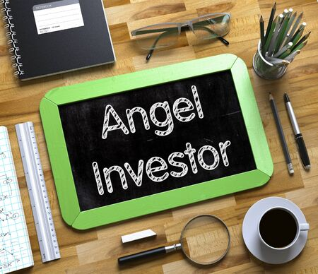 accelerator: Angel Investor - Green Small Chalkboard with Hand Drawn Text and Stationery on Office Desk. Top View. Angel Investor on Small Chalkboard. 3d Rendering.