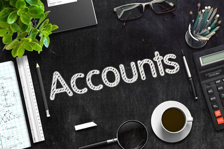 accounts payable: Accounts Concept on Black Chalkboard. 3d Rendering. Toned Image.