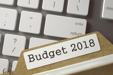 Budget 2018 Concept. Word on Folder Register of Card Index. Card File on Background of Computer Keyboard. Closeup View. Selective Focus. Toned Image. 3D Rendering. Stock Photo