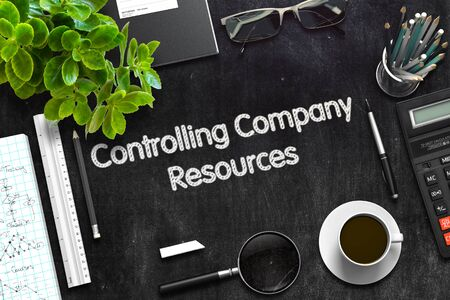 revision: Controlling Company Resources on Black Chalkboard. 3d Rendering. Toned Illustration. Stock Photo