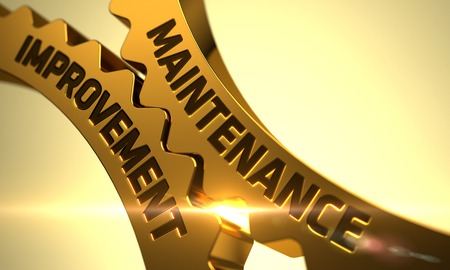 qualitatively: Maintenance Improvement on the Mechanism of Golden Cogwheels with Lens Flare. 3D Render. Stock Photo