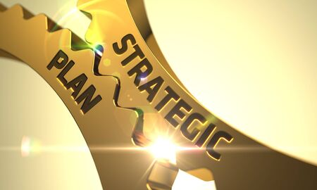 strategic plan: Strategic Plan on the Mechanism of Golden Cogwheels. 3D Render. Stock Photo