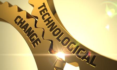 Cambio tecnológico - Ilustración industrial con efecto de resplandor y destello de lente. Render 3D