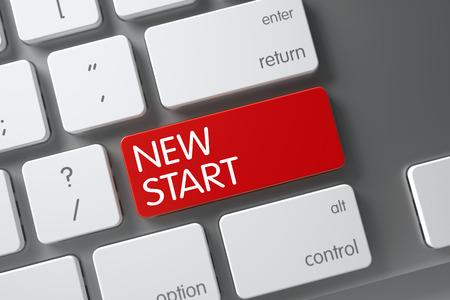 new start: New Start Concept Slim Aluminum Keyboard with New Start on Red Enter Key Background, Selected Focus. 3D Render.