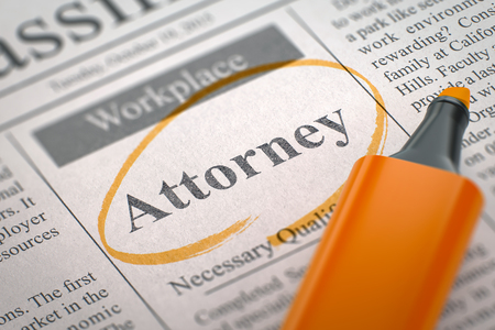 solicitor: A Newspaper Column in the Classifieds with the Small Ads of Job Search of Attorney, Circled with a Orange Highlighter. Blurred Image with Selective focus. Job Seeking Concept. 3D Illustration.